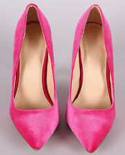 High Heel Pointed Toe 5.1in Stiletto Fuchsia Shoe US-11
