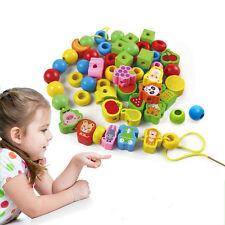 Lacets en bois perles animaux Stringing blocs boîte filetage jouet éducatif