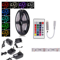 5M Bande Ruban LED Strip Flexible RGB 5050 SMD Non-étanche+IR Remote+12V 2A