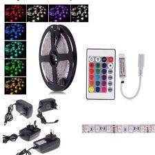 5M Bande Ruban LED Strip Flexible RGB 5050 SMD Non-étanche+IR Remote+12V 2A
