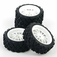 4PCS 1/10 RC Rally Tyres Tires &White Wheel Rim Kit for HSP HPI Model Racing Car