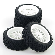 HSP HPI 1/10 RC Rally Racing Off Road Car Tyre and White Wheel 4PCS 069-487