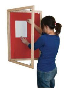 Wooden Tamperproof Lockable Beech Notice Board 1200mm x 1200mm Red