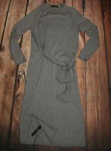 M&S Dress Ladies Knitwear Sweater Midi Jumper Grey 100% Merino Wool UK 8
