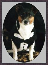 Knitting pattern for a dogs tuxedo jacket.