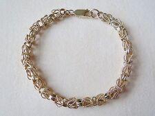 "14kt Yellow Gold Textured Byzantine Style Chain Bracelet 11.98 Grams 7 3/4"""