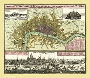 Old, Vintage Poster map of London c1740 repro