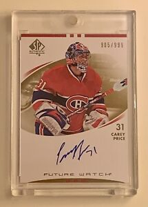2007-08 UD SP Authentic Rookie Carey Price Future Watch Auto RC /999 Canadiens