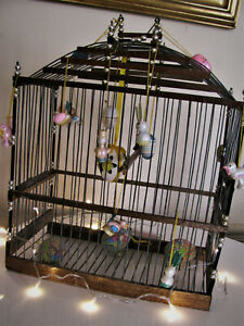 Antique 1900s French Provence Wood & Wire Birdcage