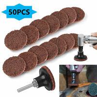 "50PC 2"" Medium Roloc Scotch Brite Roll Lock Surface Sanding Disc - RED / MAROON"