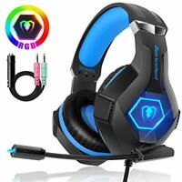 Gaming Headset Stereo Surround Sound Gaming Headphones with Breathing RGB Light