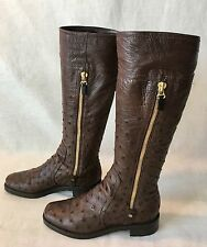Sergio Rossi Dark Chocolate Brown Ostrich Duble Gold Zipper Boots.. Sz 38. Rare