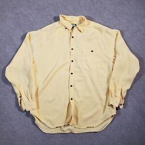 Tommy Bahama Shirt Men's Extra Large Yellow Heavyweight Long Sleeve Tencel