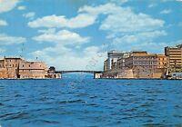 Cartolina Taranto ponte girevole su canale navigabile