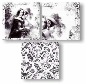 3 Servietten Vintage Damen - Serviettentechnik Decoupage Scrap  Retro wohlhabend