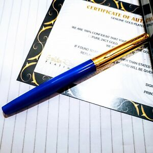 24k Gold Plated Parker Jotter Fountain Classic blue  Writing Pen In Gift Box