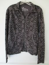 Reebok Women's Size L Cotton Black and Gray Geometric Women's Zip-Up Jacket Coat