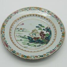 Chine. Compagnie des Indes. Assiette en porcelaine décor pagode paysage XVIIIe