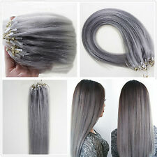 """16""""-26"""" Micro Ring Beads Easy Loop Tip Remy Human Hair Extension Straight Grey"""