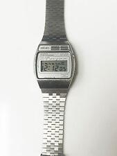 Seiko Vintage Quartz Alarm LCD A159-4000 Chronograph Silver Stainless Steel