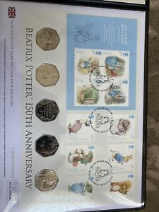 2016 Beatrix Potter Peter Rabbit 50p 5x Stamp and Coin First Day Cover 348/495