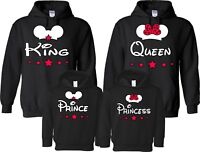 King Queen Prince Princess Mickey Minnie Family Cute matching Hoodie Pullover