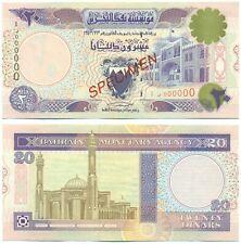 BAHRAIN RARE NOTE 20 DINAR L. 1937 (1997) SPECIMEN P 16s UNC