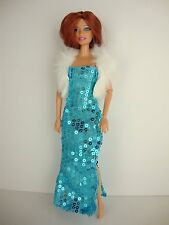 Set of 2 Sequined Gowns w/Slits in Purple & Blue, White Fur Jacket