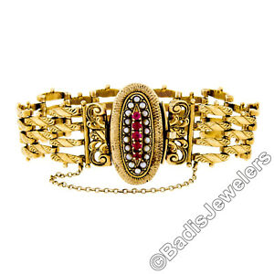 """Antique Victorian 14k Yellow Gold Natural Ruby & Pearl 6.5"""" Chain Link Bracelet"""