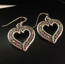 Love Heart Dangle Earrings 925 Sterling Silver Gift Boxed Free Shipping