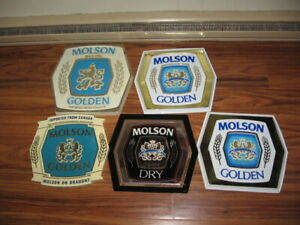 YOU ARE BIDDING 5 MOLSON BEER PLASTIC SIGNS