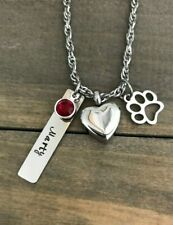 Pet urn Memorial necklace personalized name for cremation ashes loss of Dog Cat