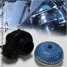"""UNIVERSAL AIR INTAKE ELECTRIC SUPERCHARGER FUEL GAS SAVER & 3"""" INCH FILTER BLUE"""