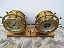 Vintage Chelsea Ship Wheel Clock & Barometer/Thermometer