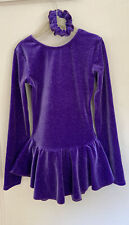 New ListingGirls Figure Ice Skating Dress Mondor Purple Sparkles Child 8-10 Long Sleeve