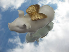 White & Gold Feathery Winged Hog Flying Piggy Piglet statue sculpture figurine