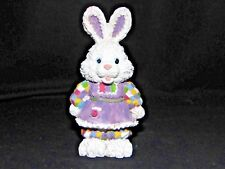 """Resin Whit 00006000 e Easter Bunny Rabbit w/Patchwork and Purple Dress Stands 4½"""" Tall"""