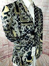 Zara Men Velvet Smoking Jacket Blazer Sport Coat Patterned Sz 40 Black Gold New