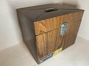 Port A File Faux Wood Metal Box With Key