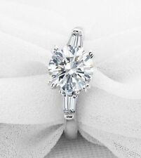 14K White Gold Finish 2 Carat Enhanced Diamond Engagement Ring Round Cut