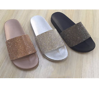 NEW WOMENS LADIES ROSE DIAMANTE COMFY RUBBER SLIDER FLAT SHOES SLIDES SLIPPERS