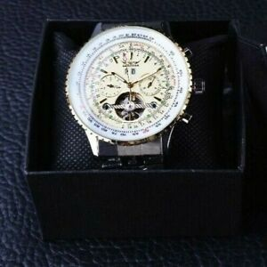 Brand new Silver Classic Military Tourbillon Automatic Watch for Men - Gift UK