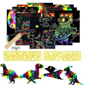 50 Papers Rainbow Scratch Art Paper DIY for Kids Child Notes Boards Card