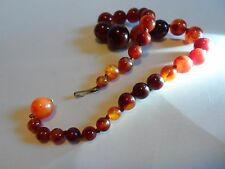 "Vintage Strand Necklace W/Mottled Red, Amber Cherry Bakelite Beads, 19""  60 GR"