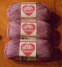 Red Heart Stardust Yarn Lot Of 3 Skeins (Pink Rose #1701)