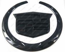 """New 4"""" 3D Front Grill Hood Badge Logo Emblem Ornament Symbol Black For Cadillac"""