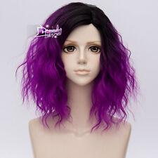 "Sweet Lolita 14"" Short Curly Black Mixed Purple Anime Cosplay Wig Heat Resistant"