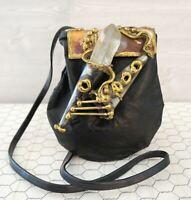 Artisan Crafted Black Leather Crystal Metal Medicine Pouch Shoulder Bag