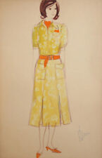 Vintage Gouache Painting Young Woman Dress Costume Design Signed