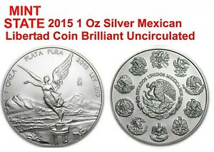 2015 ONE 1 TROY oz fine 999 Silver Mexican Libertad COIN LOW MINTAGE MINT STATE